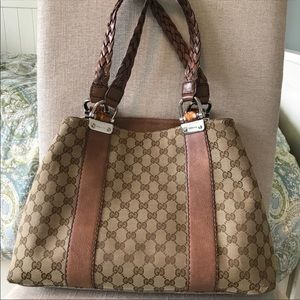 Gucci Tote with Bamboo and Braided Handles